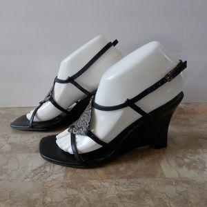 Carlos Black Wedge Heel Sandals - Made in Brazil